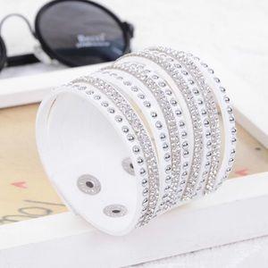 Jewelry - 🖤💙 W h i t e Leather Crystal Rhinestone Bracelet